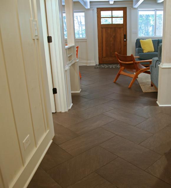 Herringbone Large Tiles Country Hallway And Landing