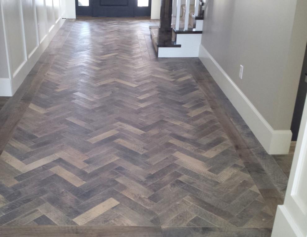 Herringbone Wood Flooring Traditional Hall Houston