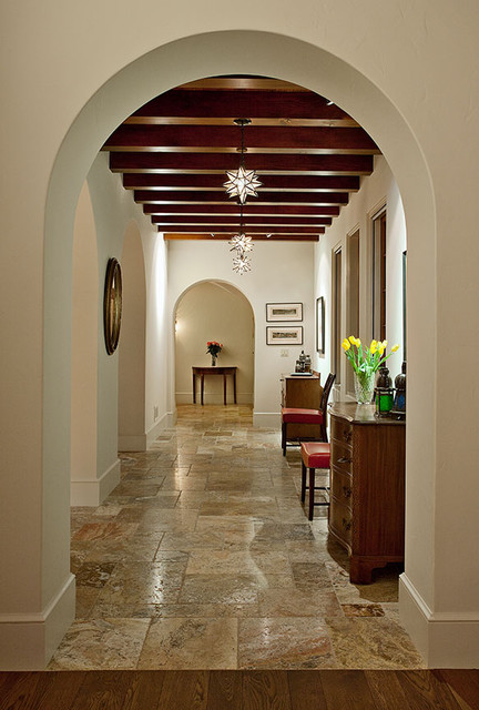 Hope Ranch Spanish Style Custom Home Hall Mediterranean