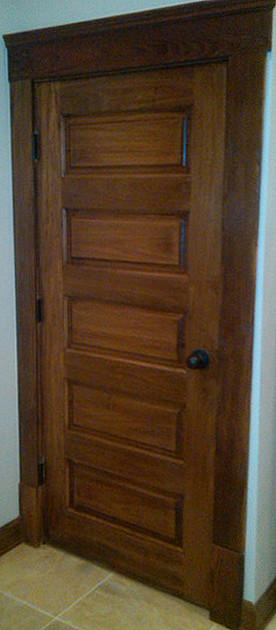 Horizontal 5 Panel Poplar Wood Door Craftsman Corridor By