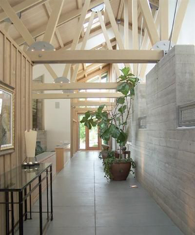 Exposed beams in Seattle architecture