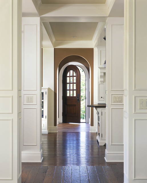 View from front entry hall through kitchen and into the back entry traditional-hall