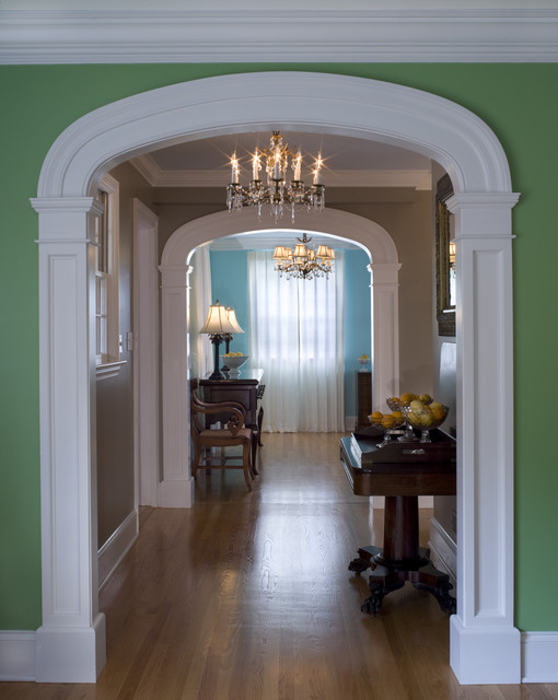 Interior arch traditional hall philadelphia by cushing custom homes inc Home arch design