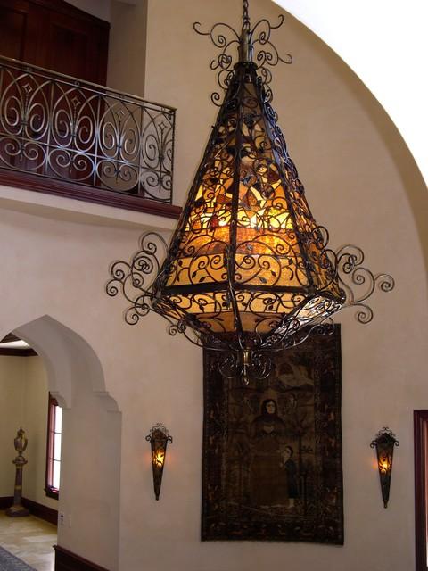 Iron and Glass Chandelier mediterranean-hall