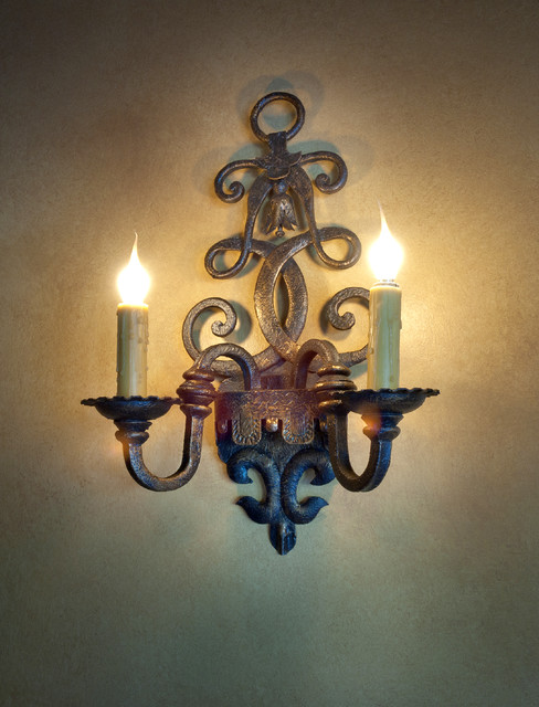 Interior Hand Forged Iron Wall Sconce - Traditional - Wall Sconces - phoenix - by Rustic Decor Store