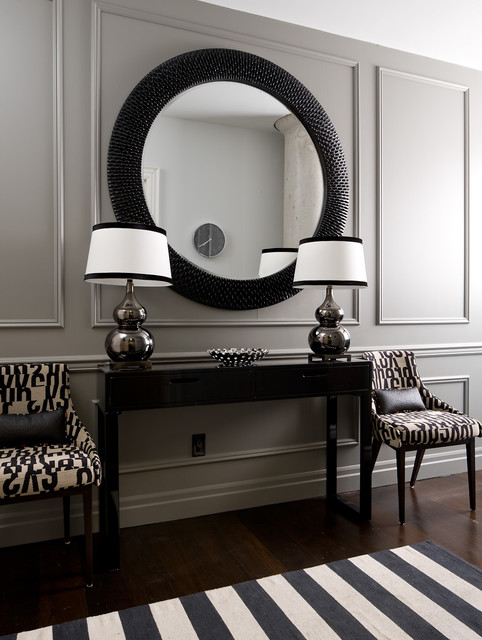 Inspiration for a mid-sized transitional dark wood floor and brown floor hallway remodel in Toronto with gray walls