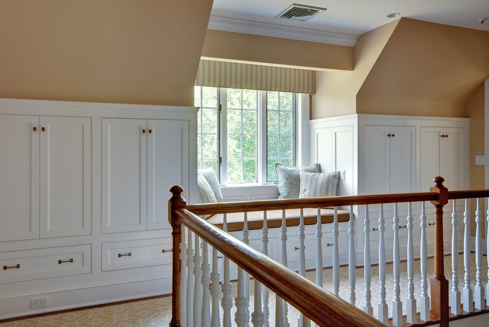 Inspiration for a timeless hallway remodel in New York with beige walls