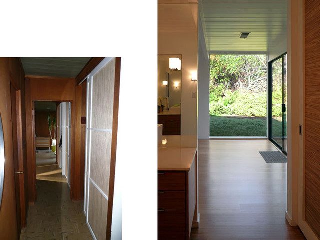 Klopf architecture - Hallway to Master Bedroom, Before and After midcentury-hall