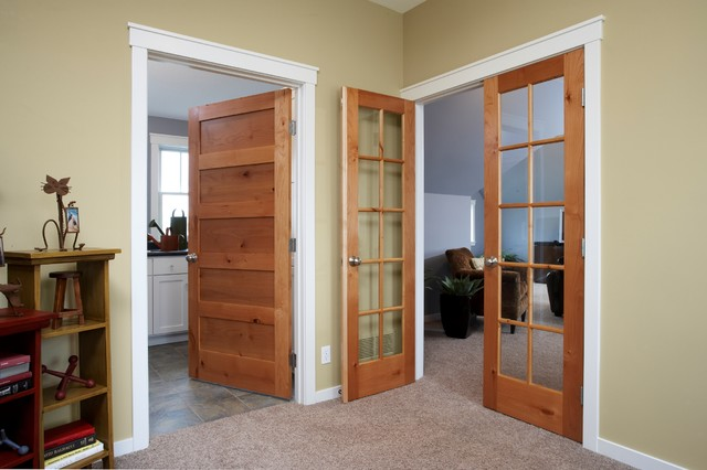 Knotty Alder Flat Panel Door Contemporary Hall