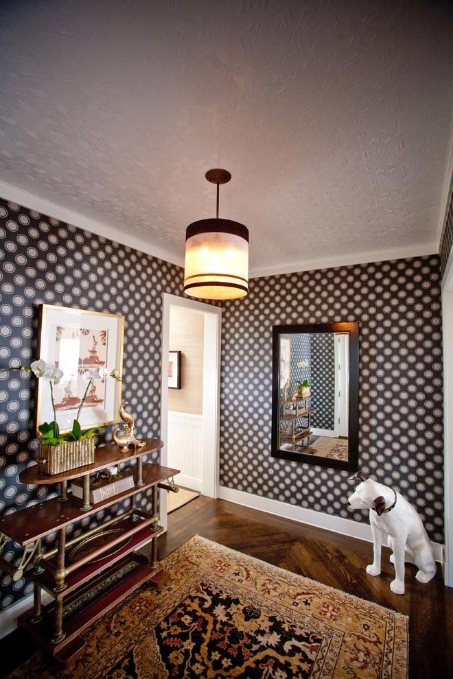 Eclectic dark wood floor hallway photo in San Diego