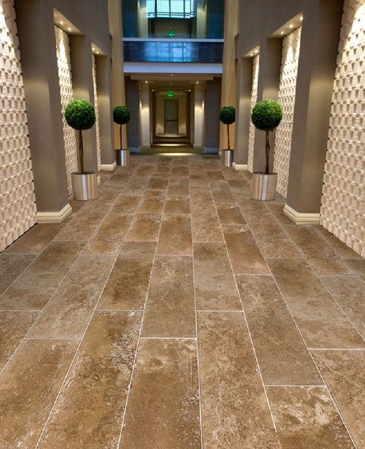 Large Format 12 X 26 Coco Travertine Tiles From Royal Stone Tile Contemporary Hall Los