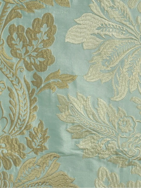 Light Blue Embroidered Vase Damask Dupioni Silk Custom Made Curtains Modern Hall Denver