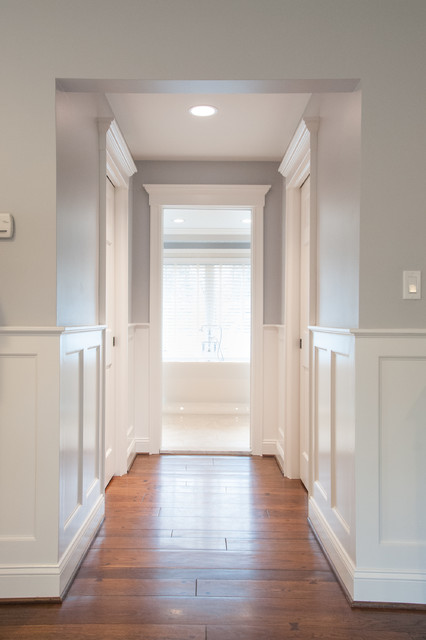 Light gray and white master suite hallway modern hall detroit by lume photography Hallway to master bedroom