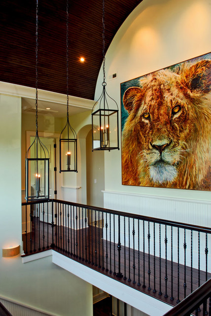 Lion painting centerpiece of nature photographers home tropical hall
