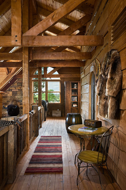 Log Home With Barn Wood And Western Decor Traditional