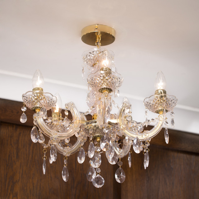 Marie Therese Chandelier 5 Light Dual Mount Gold