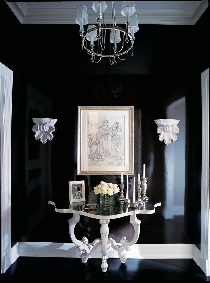 Elegant black floor hallway photo in Chicago with black walls