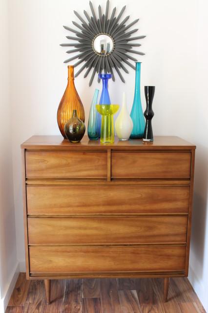 Mid Century Modern Dresser With Glass Vase Display Modern Hall