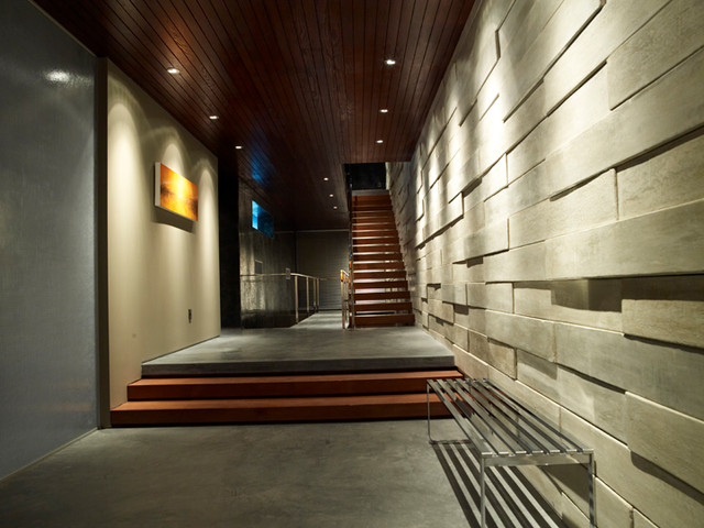 Modern Hallway With Floating Open Staircase Hall Los Angeles By Gregory Greenwood