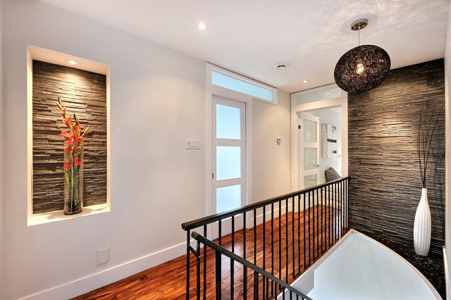 modern house remodel modern hallway landing montreal