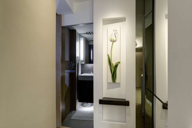 Modern small warm apartment contemporary hall hong for Small hall design