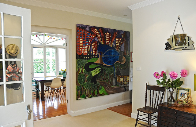 My Houzz: Eclectic Style and Color Rule Here eclectic-hall