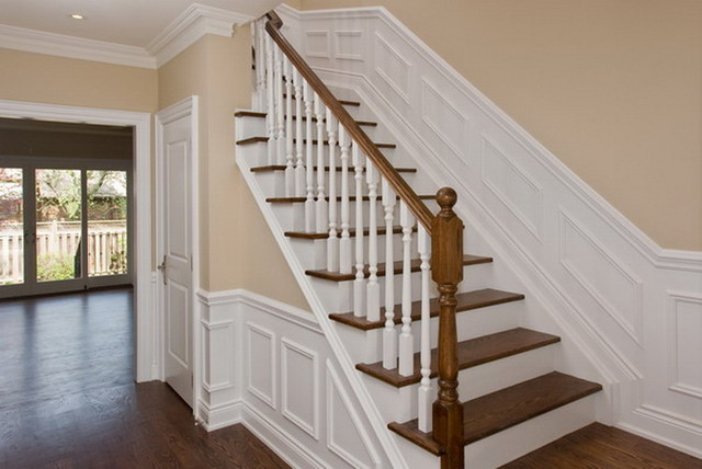 New Stairway with wainscoting traditional-hall