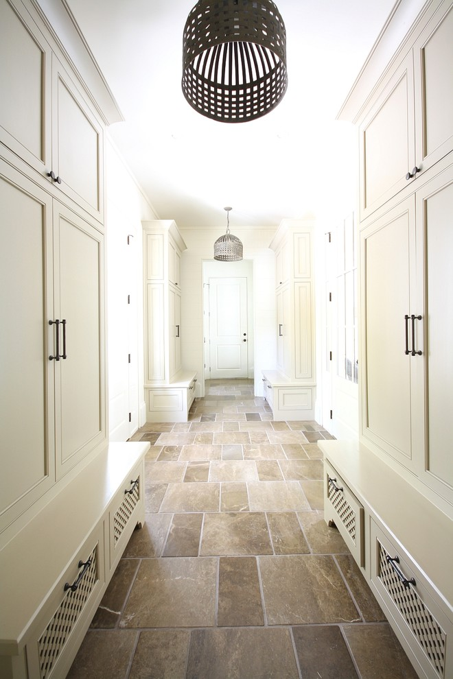 Elegant slate floor hallway photo in Atlanta with white walls