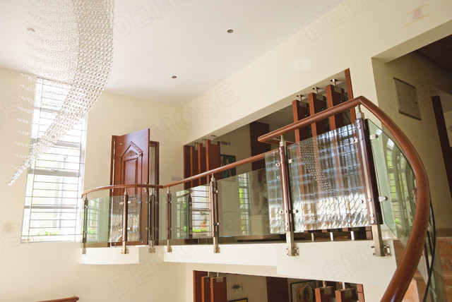 Patio Glass Wood Handrail Asian Hall Other Metro