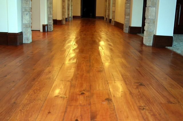 Pillow scraped walnut floors traditional hall denver for Hardwood flooring deals