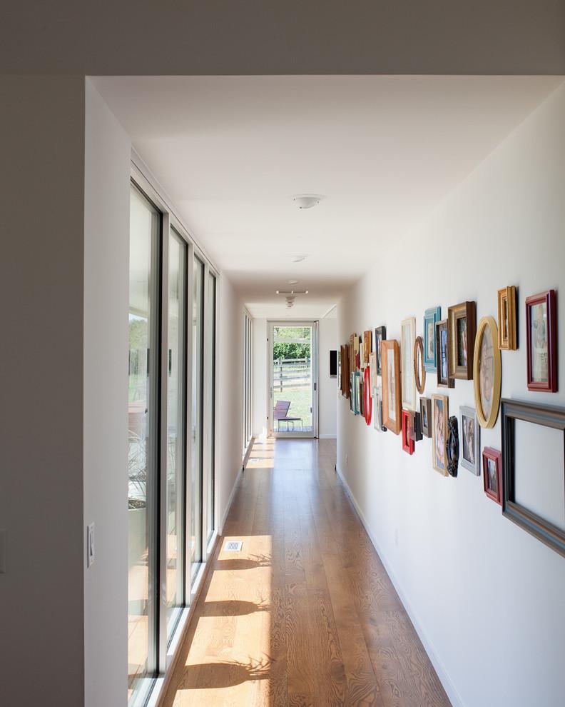 Example of a trendy medium tone wood floor hallway design in Kansas City with white walls
