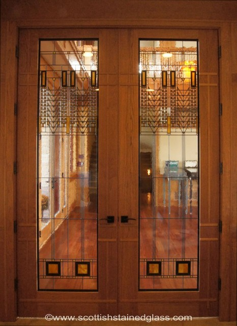 Prairie Style Stained Glass Interior Doors Contemporary Hall Denver By Stained Glass Denver