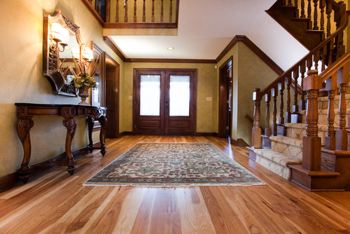 Love the floor and contrast with the stain on the wood trim!