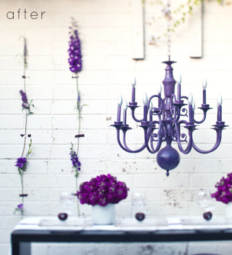 purple chandelier eclectic hall