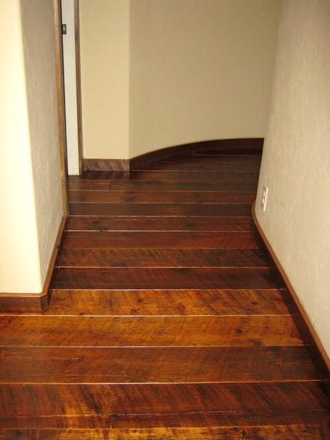 Reclaimed barn wood flooring custom design curved hallway for Reclaimed wood flooring seattle