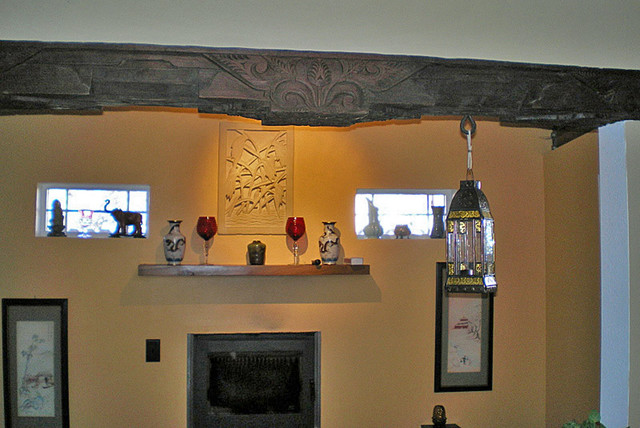 Reclaimed Hand Carved JOGLO Beam eclectic-hall