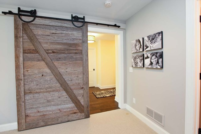 Reclaimed Sliding Wood Door rustic-hall