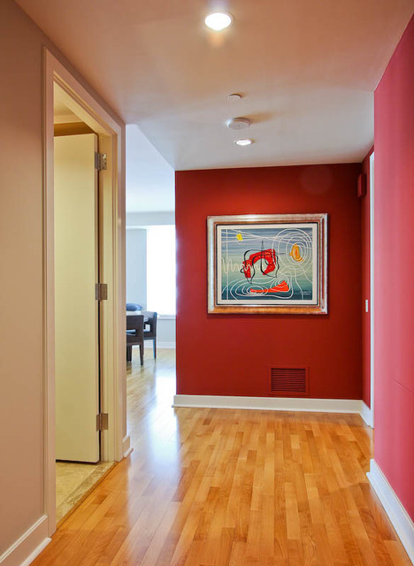 Red Hallway Contemporary And Landing