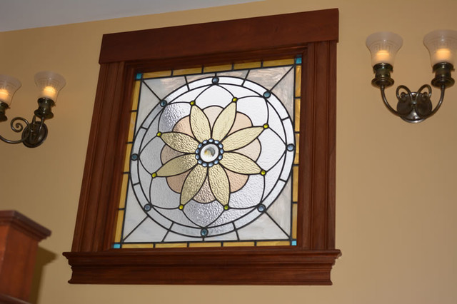 Refurbished stained glass window farmhouse-hall