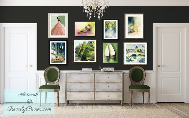 Rustic Chic Hallway With Dark Walls And Colorful Salon Style Art Display Shabby