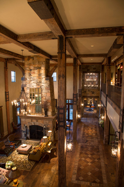 Rustic Lodge Style Home Rustic Hall Houston By
