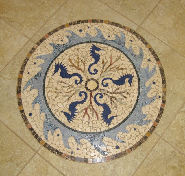 Seahorse Stone and porcelain medallion tropical-hall