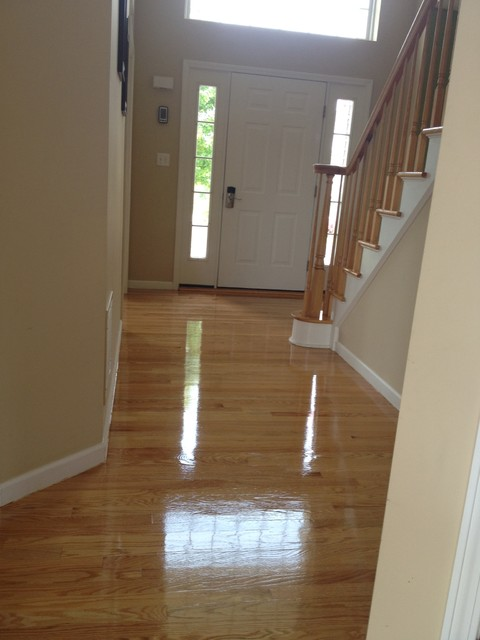 Shiny Wood Floors Traditional Hall New York By