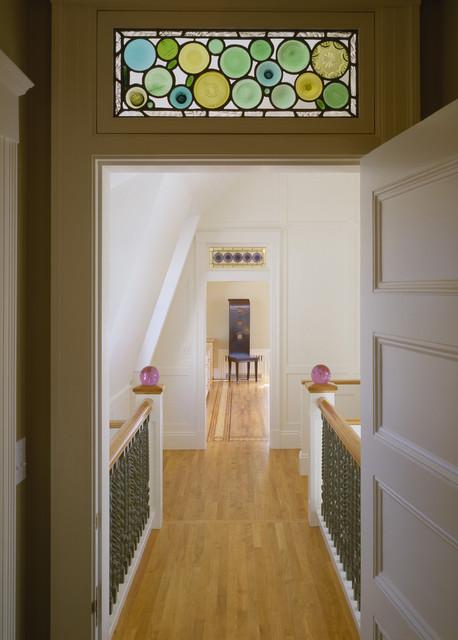 Hallway Victorian Idea In Boston With White Walls