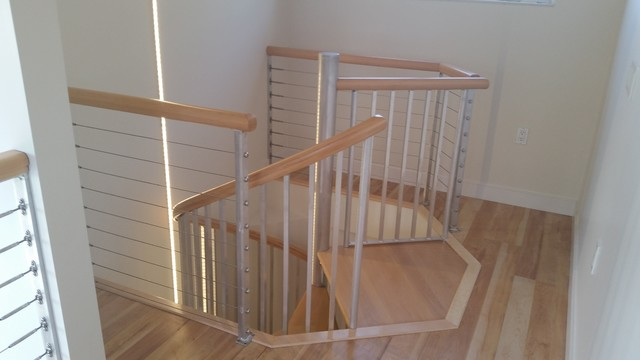 Spiral stairs with wood maple treads and handrail. - Rustic - Hall - tampa - by Sarasota Spiral ...