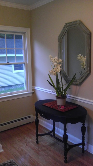 Staged groveland home, kitchen,dining, living room, farmhouse table and bench traditional-hall
