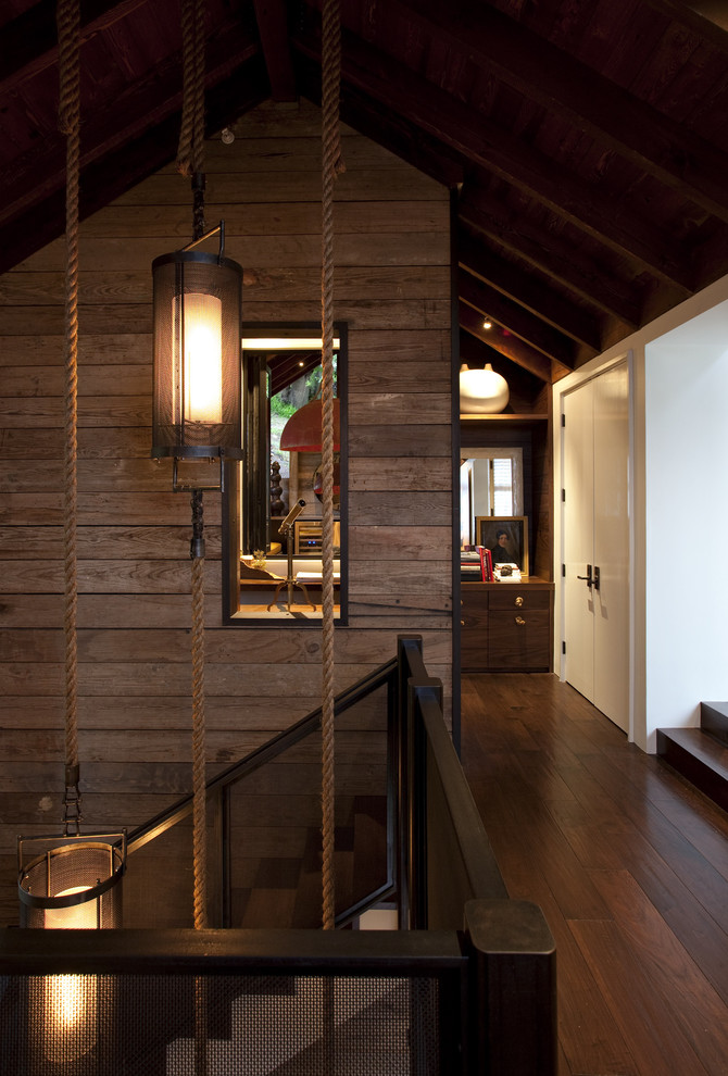 Example of a trendy dark wood floor hallway design in San Francisco