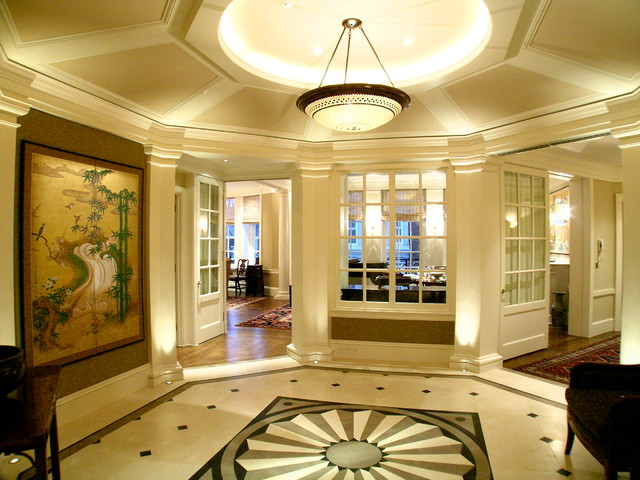 tray ceiling with rope lighting. Example Of A Classic Multicolored Floor Hallway Design In San Francisco With Beige Walls Tray Ceiling Rope Lighting