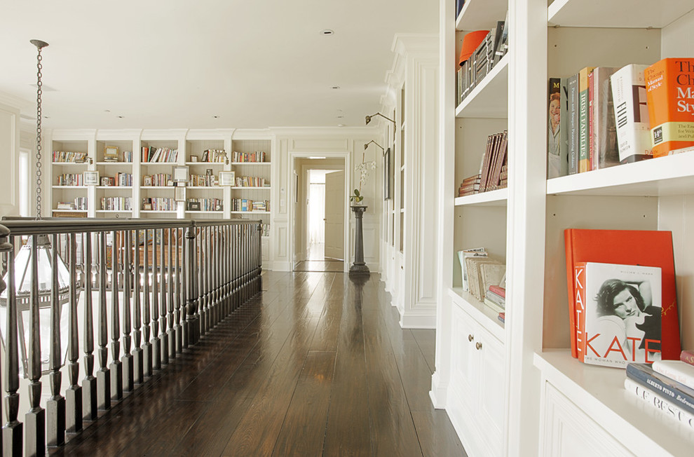 Inspiration for a timeless hallway remodel in Los Angeles with white walls