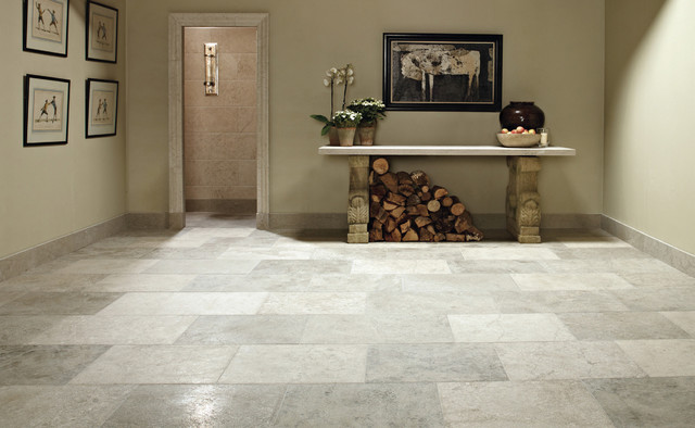Blue Grey Limestone Floor Tiles traditional hall